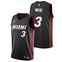 Wade Miami Heat NBA Nike Men's Black Official Away Replica Jersey