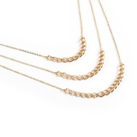Stone + Locket 3 Tier Gold Chain Necklace