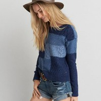AEO Washed Crew Sweater, Indigo | American Eagle Outfitters
