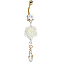 Handcrafted Gold Plated Double Gem Tea and Lace Rose Dangle Belly Ring | Body Candy Body Jewelry