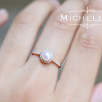 14K/18K Saltwater Pearl Engagement Ring with Halo Diamond, Rose Gold Pearl Ring, Freshwater or Akoya Pearl, Promise Ring,Bridal Wedding Gift