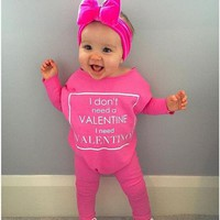 Kids Baby Girl Clothes Cotton Romper Long Sleeve Letter Jumpsuit Casual Clothing Baby Girls Outfit