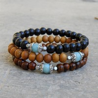 Positivity and Confidence - Set Of 3 Mala Bracelets Sandalwood, Ebony, Woods with Genuine Amazonite Guru Bead