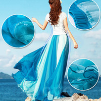 Women Floor Skirt New Chiffon Summer Style 2 Colors Patchwork Beach Wear Boho Long Maxi Skirt Boshow Gonne Donna DR758