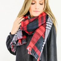 Study Abroad Red Plaid & Houndstooth Blanket Scarf