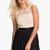 Frenchi® Lace Bodice Dress (Juniors) | Nordstrom