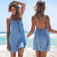 Light Blue Backless Mini Dress