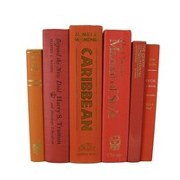 Orange and Red Decorative Book Set curated with Vintage Books, S/6