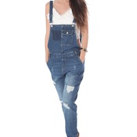 Denim full length overall with distressed detailing