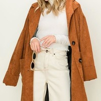 Longline Corduroy Two Button Coat in Camel