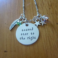 """Peter Pan Inspired Necklace. Peter Pan """"Second Star To The Right"""". Swarovski crystals, for women or girls. Hand Stamped. Peter Pan Necklace."""