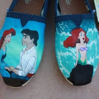 Little Mermaid Prince Eric and Ariel Custom Acrylic Painting for Toms Shoes