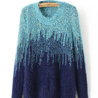 Long Sleeve Gradient Gold Wire Mohair Knit Sweater