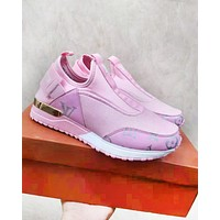 LV Louis Vuitton New fashion letter monogram print shoes Pink