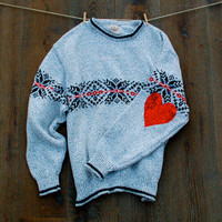The Cutest Ugly Christmas Sweater Ever Red Sequin Heart Elbow Patch Boyfriend Sweater Hipster Dazzle
