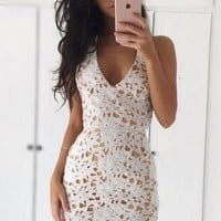 White Deep V Neck Lace Open Back Homecoming Dress