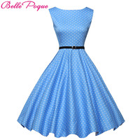 Belle Poque Women Summer Style Inspired Vintage Clothing Retro 50s Big Swing Audrey Hepburn Polka Dot Plus Size Woman Dresses