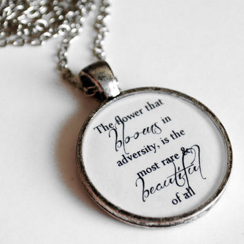 Mulan Quote Resin Pendant Necklace The Flower by Metamorphosis07