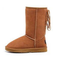 """""""UGG"""" Women Fashion Wool Snow Boots lace up boots Brown"""