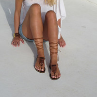 Women Leather Sandals in brown, Greek thong with macrame, CLIO 04, SS15