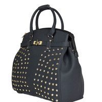 """""""THE SONOMA"""" Studded Black Rolling iPad, Tablet or Laptop Tote Carryall or Weekender Bag"""