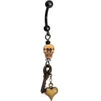 Handcrafted Black Halloween Voodoo Skeleton Key Dangle Belly Ring | Body Candy Body Jewelry