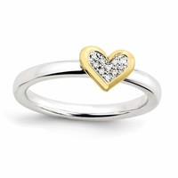 Sterling Silver Stackable Expressions Heart w/Diamond & Vermeil Ring