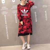 """""""Adidas"""" Women Casual Camouflage Loose Long Sleeve Long Section Sweater Dress"""