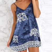 Elephant Print Spaghetti Strap V-neck A-Line Mini Dress