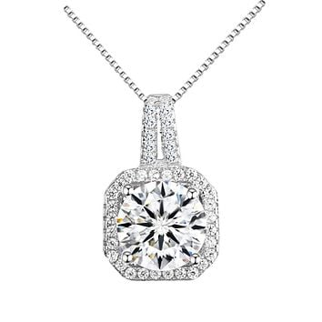 Halo Crystal Pendant Necklace 18k Gold