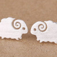 Silver Sheep Earring, 925 Silver Sheep Ear Studs, Birthday, Teenage, Valentine, Bridemaid, Bridal, Wedding Gift