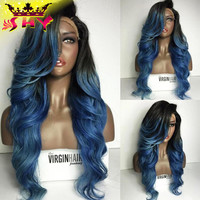 The Virgin Hair Fantasy Full Lace Wigs Human Hair With Baby Hair Ombre 1B#Blue Brazilian Full Lace Wigs Glueless Lace Front Wigs