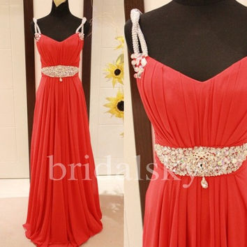 Long Red Beaded A Line Chiffon Prom Dresses Bridesmaid Dresses Formal Party Dresses 2014 Wedding Events