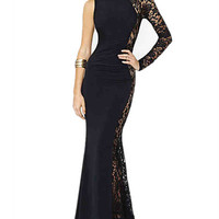 Black Lace One Shoulder Asymmetrical Maxi Dress