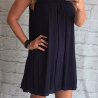 Navy Crochet Detail Dress