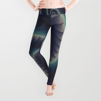 Purple and Turquoise Spiral Fractal Leggings by KittyBitty