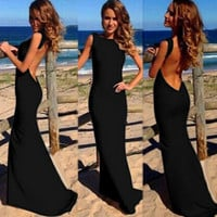 Sleeveless Deep V-Cut Back Asymmetrical Maxi Dress