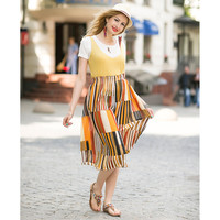 Yellow Wide Leg Pants Stripe Pleated Chiffon Loose Capris Cropped Trousers