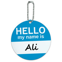 Ali Hello My Name Is Round ID Card Luggage Tag