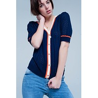 Navy Buttoned Cardigan with Short Sleeves