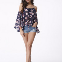 Off Shoulder Floral Print Loose Chiffon Blouse