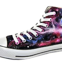 Huan Qiu Unisex Hand Painted Galaxy High Top Canvas Shoes (26cm (Inner Length))