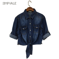 2016 SIMPVALE Spring Summer Korean Style Short Shawl Shirt Women Denim Bow Jeans Small Cape Waistcoat Shirts