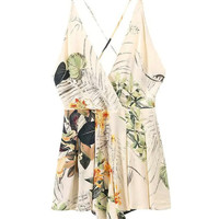 Women Summer Style Tropical Leaf Prints V-neck Cross Backless Romper Playsuit Jumpsuits overalls mono