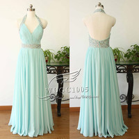 Sexy halter prom dress pageant dress party dress,beaded prom dress graduation dress beaded ball gown prom dress,mint prom dress