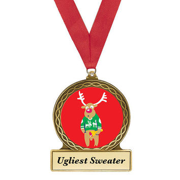 Ugly Sweater, Ugly Christmas Sweater, Award, Christmas Sweater Award, Reindeer Award, Ugly Sweater Party, Reindeer Metal Award, Christmas