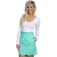 Solid Scalloped Seersucker Skirt in Seafoam by Lauren James