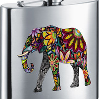 Visol Flower Elephant Stainless Steel 7oz Hip Flask