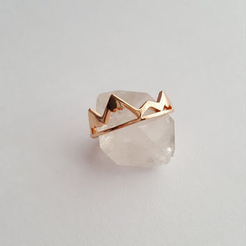 Rose Gold Mountain Ring   Mountain Jewelry   Nature Jewelry   Snowy Mountain Top   Hiking Ring   Adventure Travel Ring   Explorer Ring