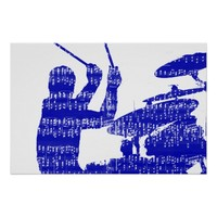 Drummer sticks shadow blue w music grunge